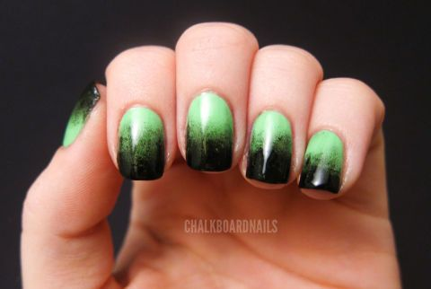 We like to think that the Bride of Frankenstein would definitely rock these ghoulish nails.  Get the tutorial at Chalkboard Nails »