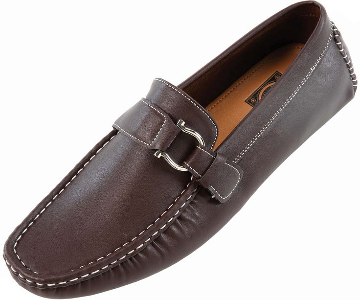 Amali Mens Brown Smooth Driving Shoe with Silver Ornament : 1706-065This mens classic driving shoe features a luxurious man-made brown smooth material with contrast stitching and harness buckle.This classic driving shoe is a wardrobe staple! Dress them up or down!Click here to see other colors available in this style : Navy Blue , Red , …