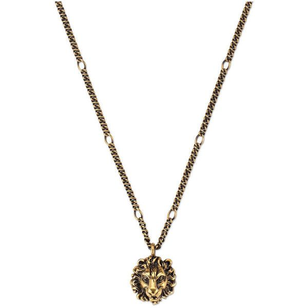 Gucci Necklace With Lion Head Pendant (£230) ❤ liked on Polyvore featuring jewelry, necklaces, gold, gucci, chain pendants, gucci jewelry, chain necklace and pendant necklace