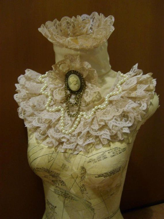 Ivory victorian steampunk collar. I would go out of my way to wear this with everything.