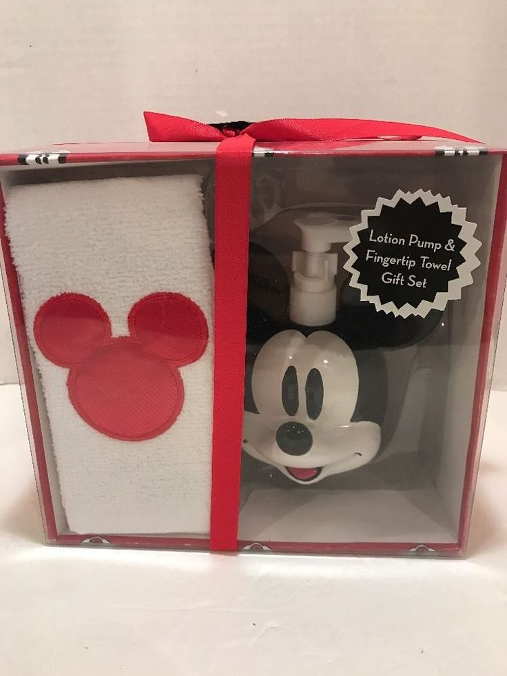 Mickey Mouse Lotion Pump & Fingertip Towel, Gift Set New | Home & Garden, Bath, Bath Accessory Sets | eBay!