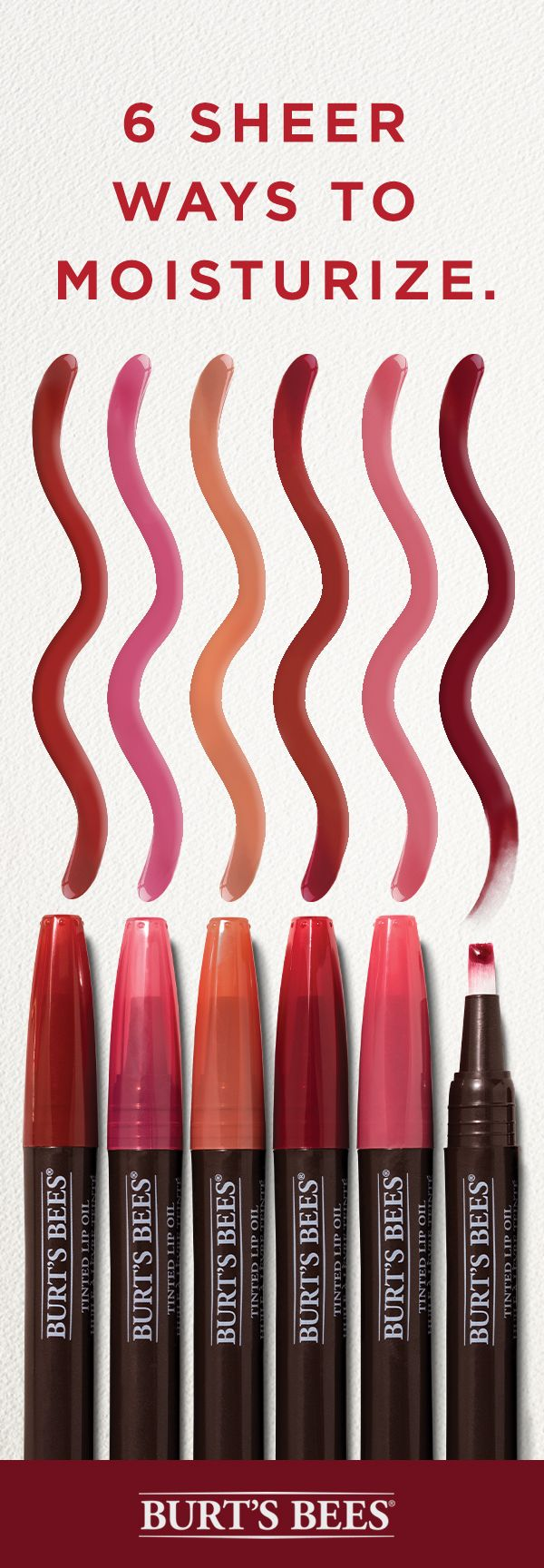 Sheer lip color plus hydrating gloss? Color us impressed. The coconut oil and natural pigments in Burt's Bees new Tinted Lip Oil work together to give you 8 hours of hydration in six pretty, easy-to-wear shades. Nude lips, red lips and berry lips just got a whole lot better.