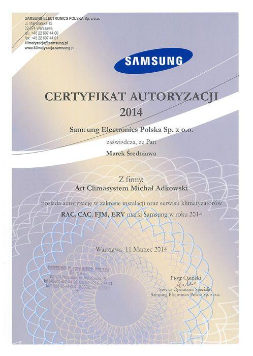 Certyfikat autoryzacji Samsung Electronics Polska dla naszej firmy na instalację oraz serwis klimatyzacji