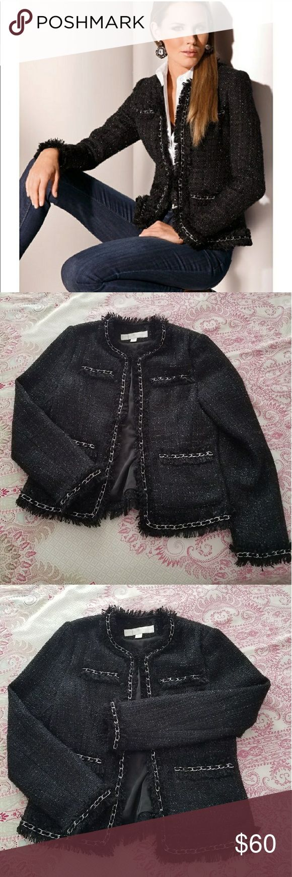 Boston Proper Parisian Jacket with chain Black tweed Boston Proper jacket with silver chain accent. Boston Proper Jackets & Coats Blazers