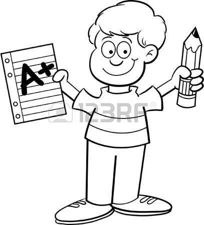page boy: Cartoon illustrazione di un ragazzo in possesso di una carta e una matita per una pagina da colorare
