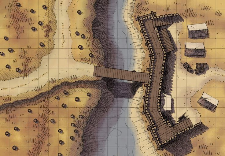 The Checkpoint, a battle map for D&D / Dungeons & Dragons, Pathfinder, Warhammer and other table top RPGs. Tags: river, water, bridge, wilderness, road, fort, camp, ruins, building, plains