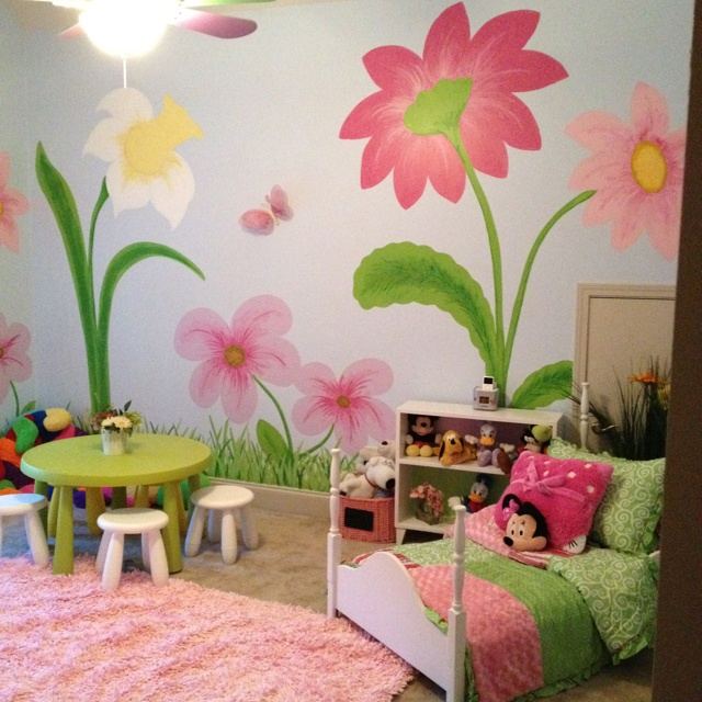 Painted Wall Flowers My Little Girls Room Kids Bedroom Kids