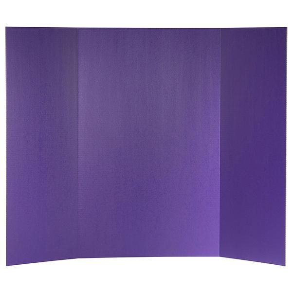 "Constructed from sturdy lightweight 1-ply corrugated fiberboard with overlapping side panels that make transporting the board easy. The smooth purple surface has a slightly glossy finish that easily accepts markers, crayons, paints and adhesives. Back of board is brown kraft. Measures 36""x48"" overall - side panels measure 36"" high by 12.75"" wide and the center panel measures 36"" high by 22.5"" wide. Made in USA."