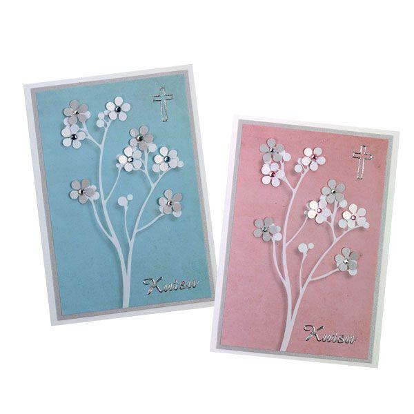 Sinellin helmipuupaperista teet helposti kauniita kutsuja. Nämä puut on koristeltu kuvioleikkurilla leikatuin kukkasin. Tarvikkeet ja ideat Sinellistä!