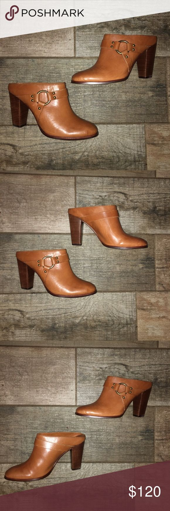 "Frye Women's Laurie harness mules Gorgeous leather harness tan leather mules. BRAND NEW WITHOUT BOX. never worn. Size 8 heel is about 3"" high. Comfortable to walk in Frye Shoes Mules & Clogs"