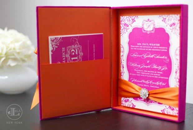 Lela New York created these boxed invitations using Hot pink silk with contrasting orange on the inside. We added a bit of crystal embellishment to the inside and had her invitations letterpressed.