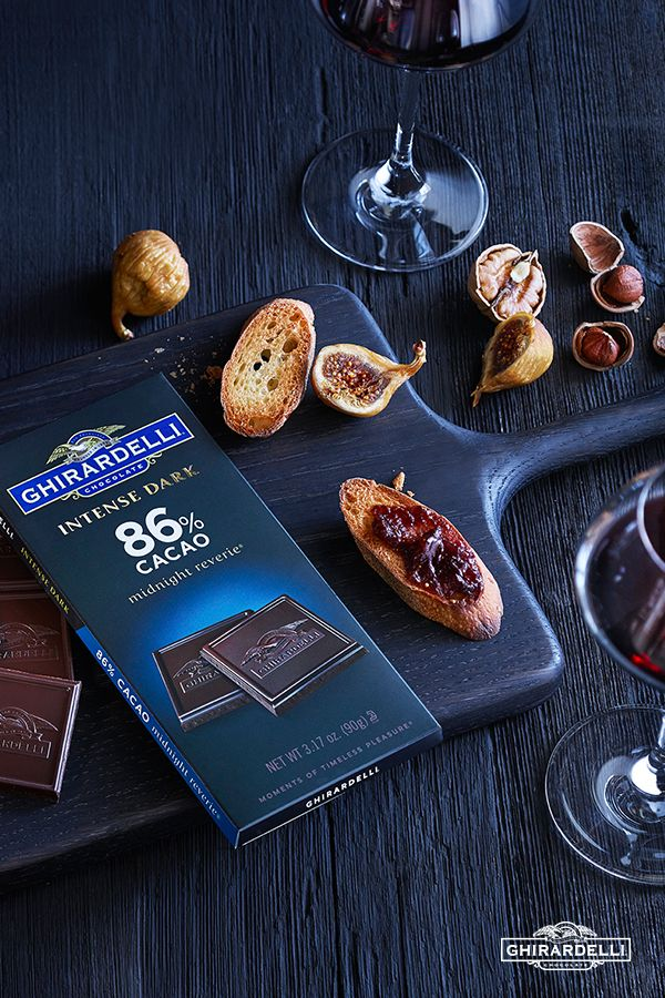 With 86% cacao, this luxuriously deep dark chocolate delivers the ultimate chocolate intensity. Its full bodied flavor is accompanied by hints of dark cherries and dried plums is made even lovlier by pairing it with a vintage port and fig spread on a baguette.