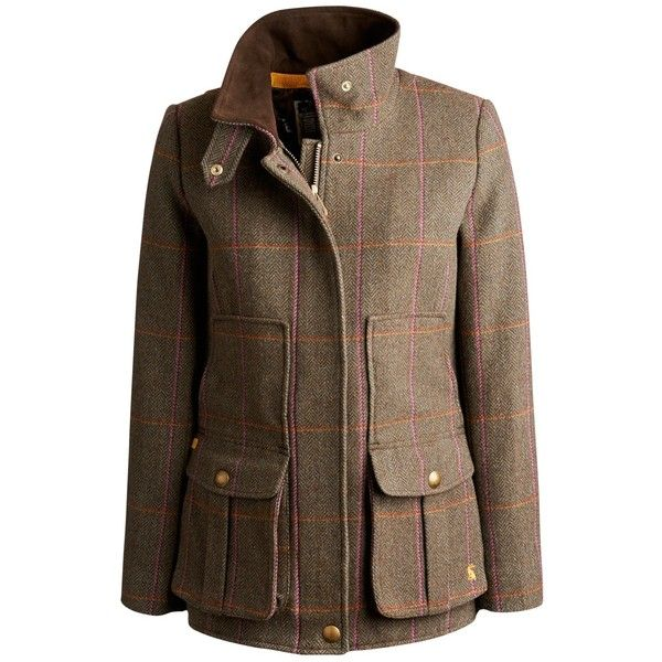Joules Field Coat, Hardytweed (220 CAD) ❤ liked on Polyvore featuring outerwear, coats, jackets, abrigos, long sleeve coat, wool field jacket, military jacket, brown military jacket and military coats jackets