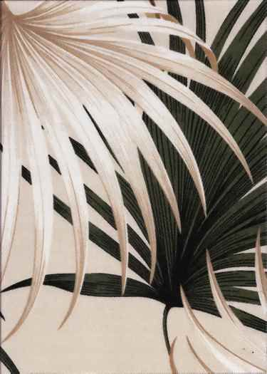 Kailua Tan Tropical Hawaiian Palm Ferns pattern on indoor/outdoor fabric.