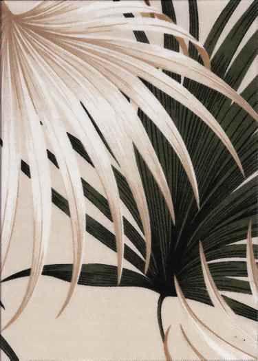 Kailua Tan Tropical Hawaiian Palm Ferns pattern on indoor/outdoor fabric.