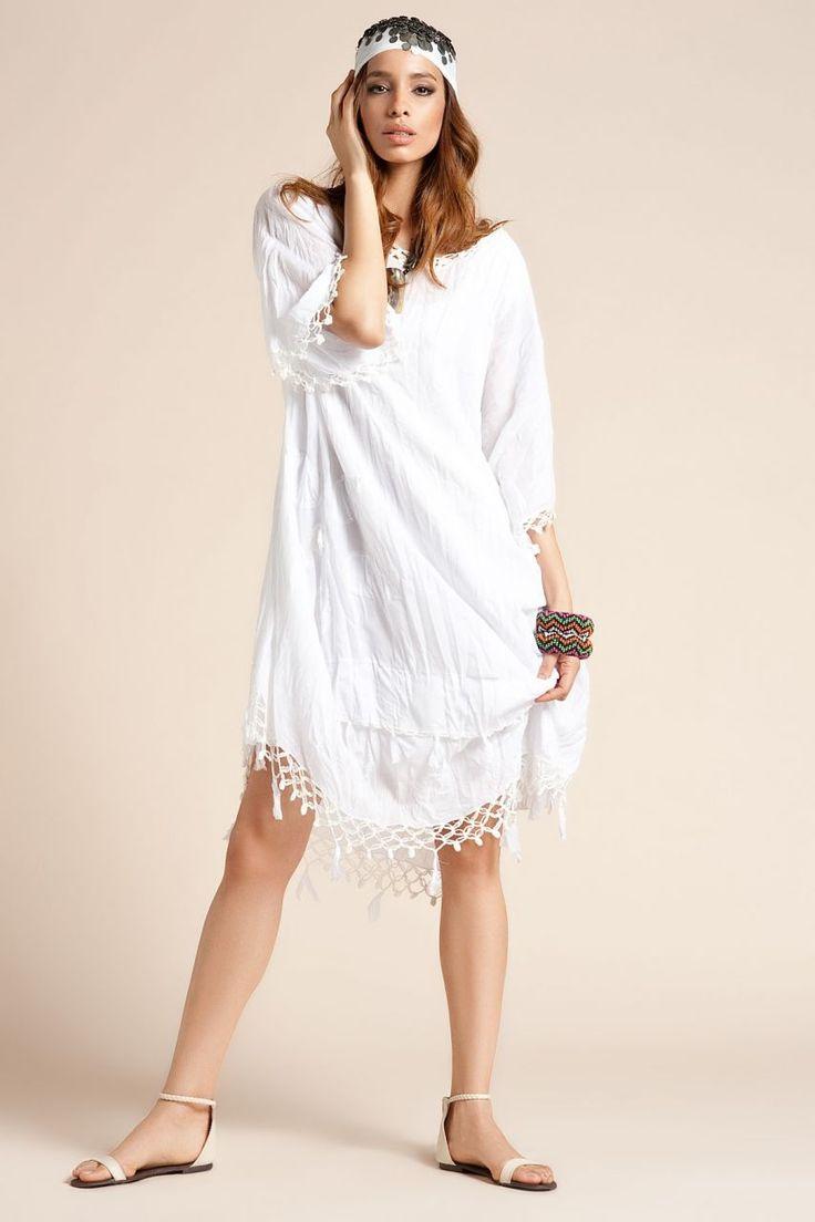 Otantik Bodrum Elbise - Beyaz