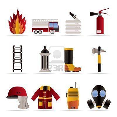 bomberos y equipos de bombero icono - vector icono conjunto Foto de archivo