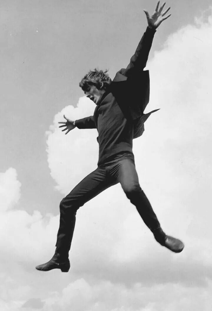 George Harrison jumping in A Hard Day's Night, 1964