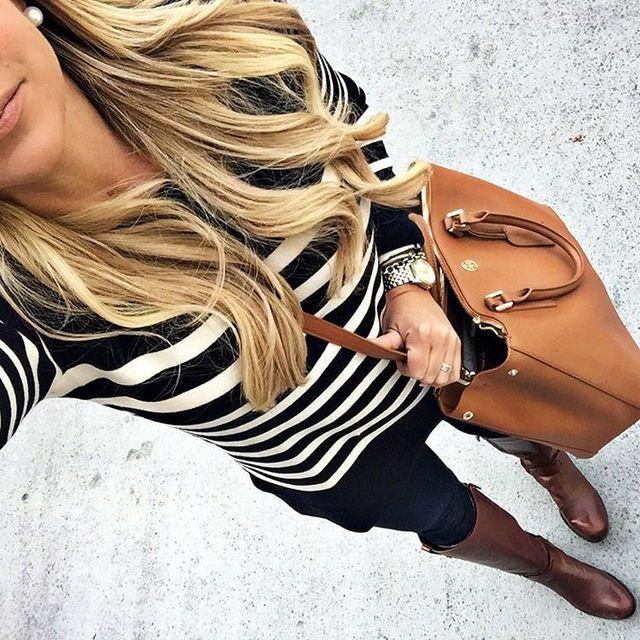Stripe top & tory burch bag.