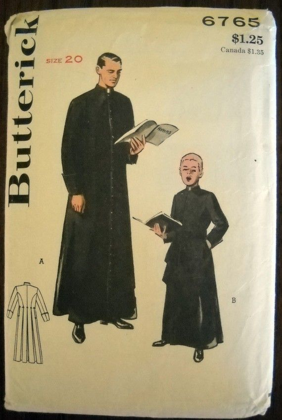Vintage Butterick Sewing Pattern Mens CASSOCK by goodygirlred