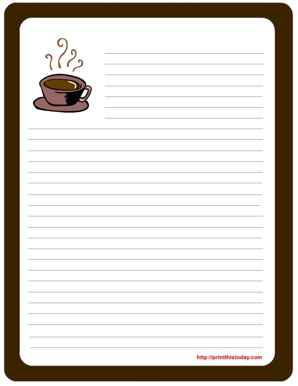 Write a warm message of appreciation for your dad using this stationery design with a steaming cup of coffee. Description from printthistoday.com. I searched for this on bing.com/images