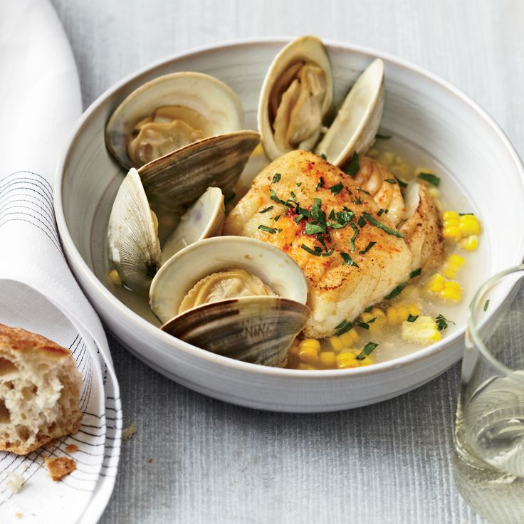 George Mendes of NYC's Aldea combines littleneck clams, buttery corn and a quick-cured cod in a savory broth made from the clams and white wine.