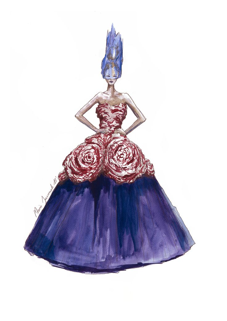Watercolor fashion illustration inspired by John Galliano for Christian Dior Fall-Winter 2010-2011 Haute Couture collection show in Paris, by Maria Janczak  ( www.facebook.com/maria.janczak.artist )