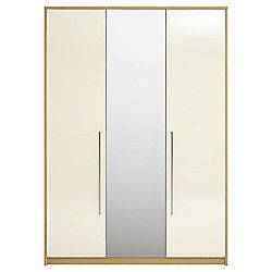 Adria Tall Oak Triple Wardrobe With Ivory Gloss And Mirror Doors