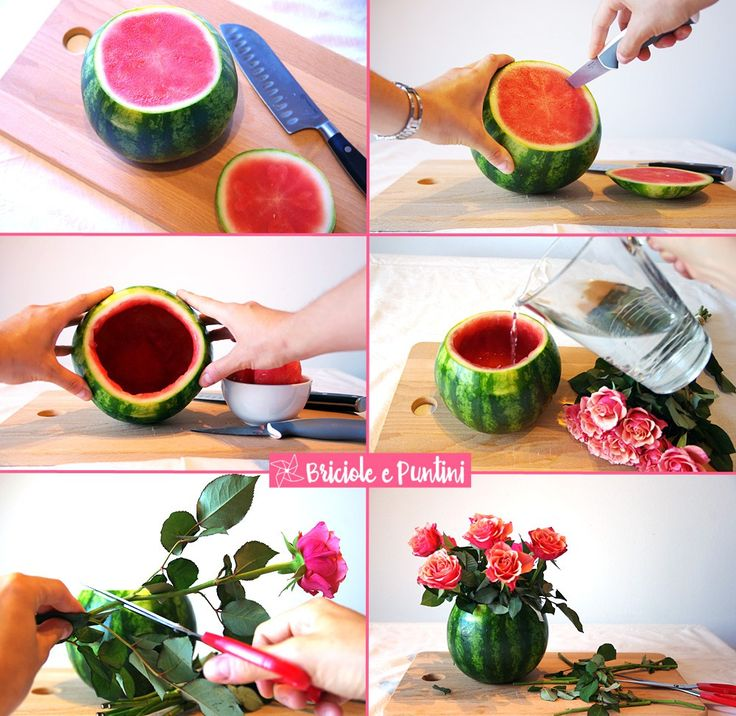 DIY #watermelon centerpiece. Centrotavola estivo fai da te con fiori freschi e anguria.