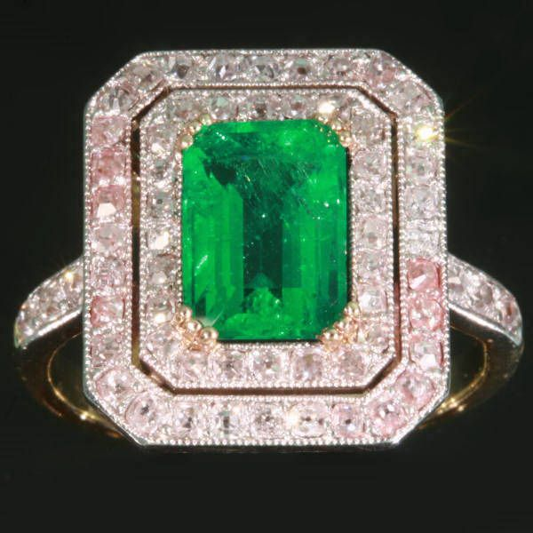 Art Deco Colombian emerald engagement ring diamond