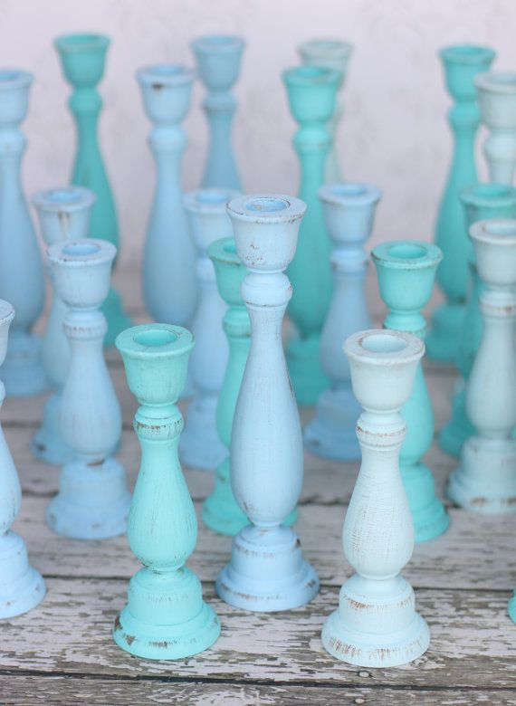 Shabby Chic Candle Holders Distressed Blue Nautical Beach Cottage Home Decor Collection of 9
