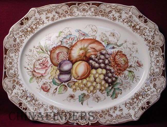 "JOHNSON BROTHERS china HARVEST pattern 20-1/4"" TURKEY PLATTER Windsor Ware Fruit #JohnsonBrothers"