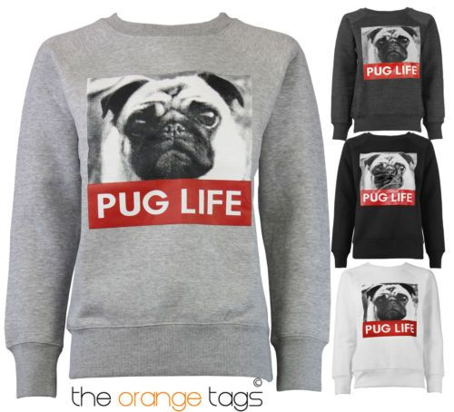 NEW #PUG #LIFE #PRINT #WOMENS #SWEATSHIRT LADIES FLEECE JACKET PULLOVER TOP