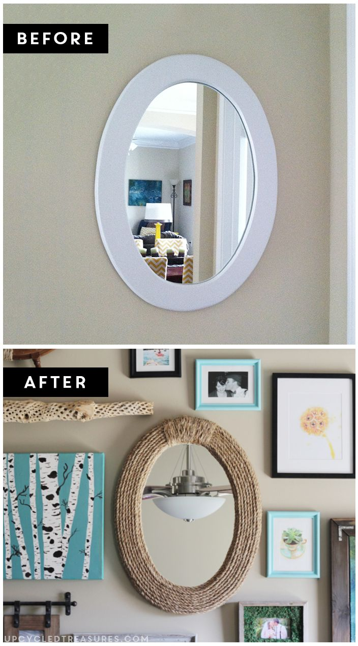 Create a nautical rope mirror using rope! UpcycledTreasures.com #DIY