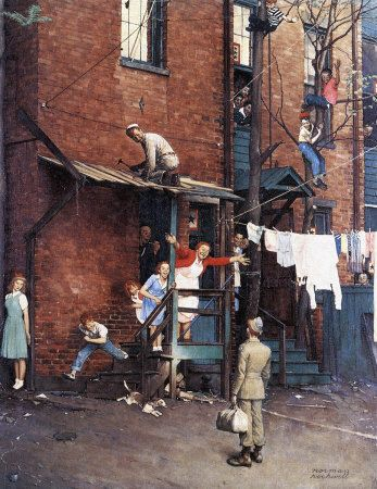 We had a big jigsaw puzzle of this Norman Rockwell illustration. Our whole family worked on it, and I remember studying the pieces so carefully...