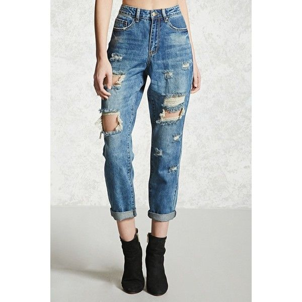 Forever21 Distressed Boyfriend Jeans ($33) ❤ liked on Polyvore featuring jeans, high waisted ripped jeans, high-waisted jeans, boyfriend jeans, high waisted jeans and high waisted distressed jeans