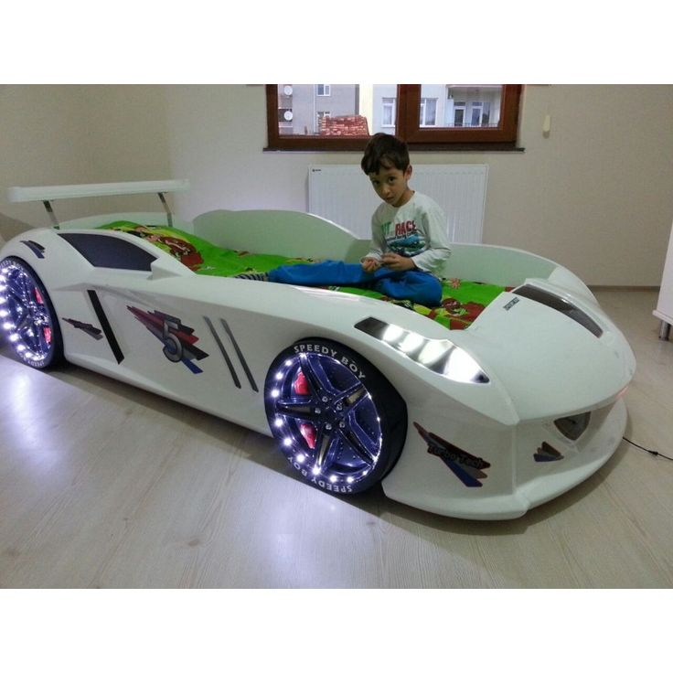 White Racecar Bed For Kids Jaguar With LED Lights
