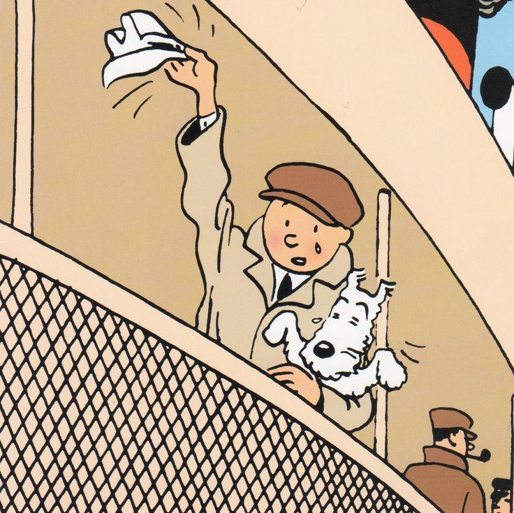 The Blue Lotus Tintin waving goodbye with Snowy on a ship Sailing ship high seas