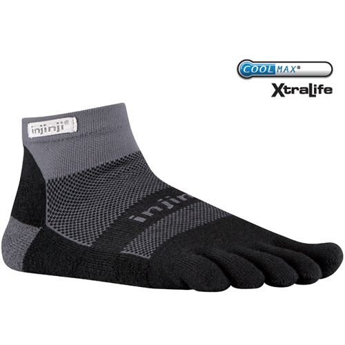 """Pack on miles blister-free in the cushioned comfort of the RUN 2.0 Midweight Mini-Crew.  This cushioned toesock provides extra padding under the foot for extra protection and increased comfort. The Run Midweight is perfect for those who prefer """"more of a sock"""" and an extra layer of protection for long runs and demanding workouts. Shop at http://lordshopping.com/injinji-run-midweight-mini-crew-socks.asp"""