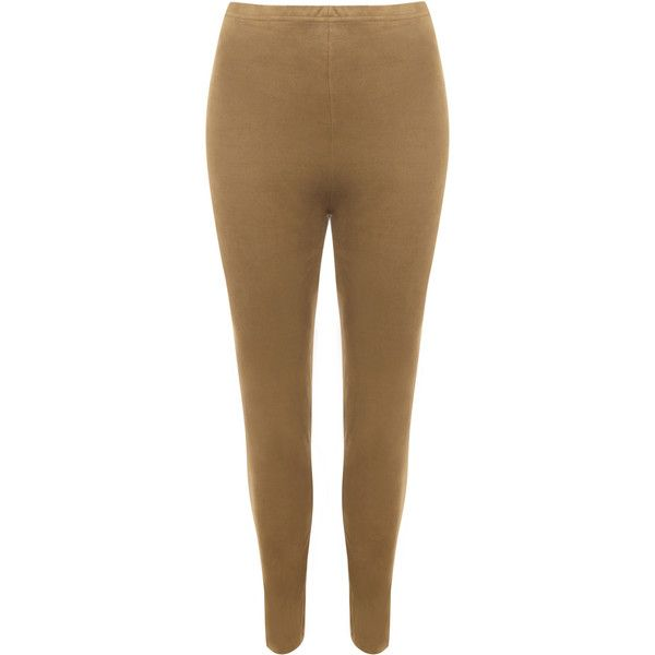 WearAll Plus Size Suede Look Leggings (€19) ❤ liked on Polyvore featuring pants, leggings, camel, brown pants, brown stretch pants, legging pants, stretch pants and plus size brown leggings
