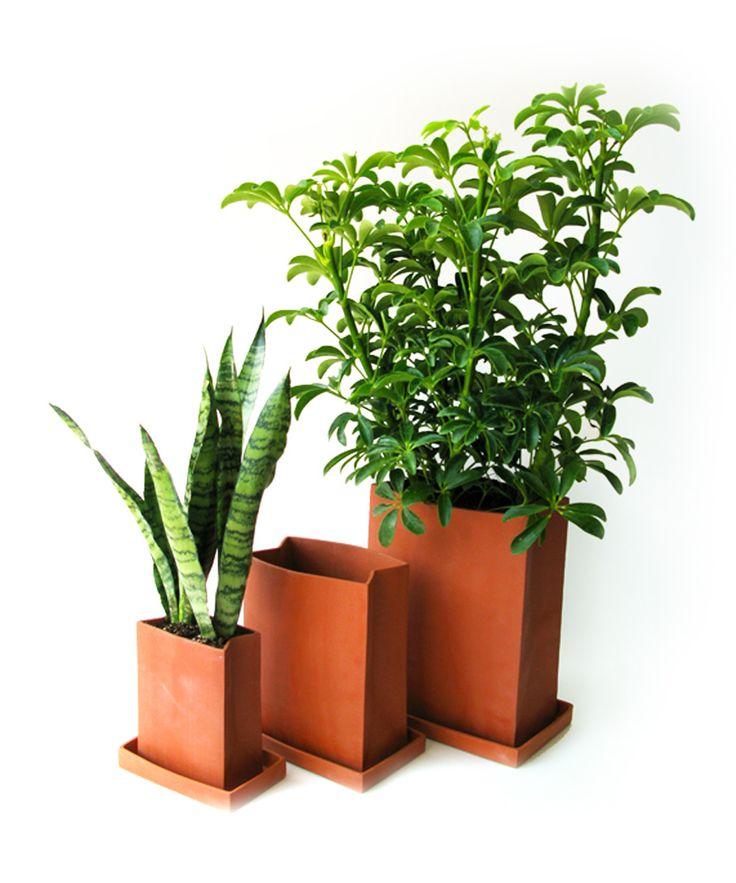 Terra Cotta Paper Bag Planter #planter #productdesign #