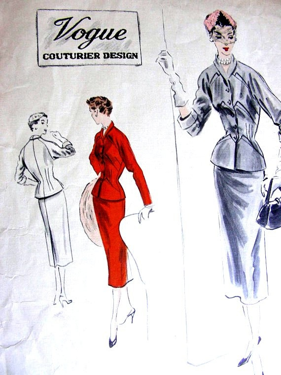 Sewing Pattern - VOGUE Couturier 676 1950, suit with slim pencil skirt from ragsfeathers, $45.00