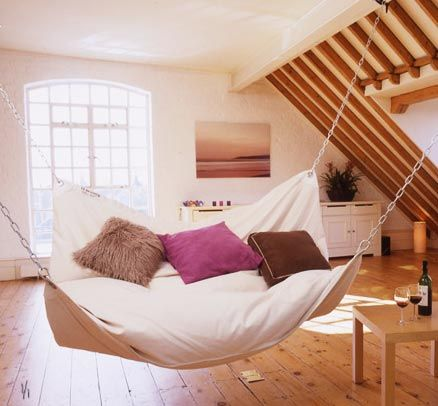 hammock couch thing. wanttt: Decor, Ideas, Sweet, Beds, Hammock Bed, Dream House, Hammocks, Design, Bedroom