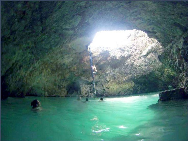 Swimming in blue hole Negril Jamaica