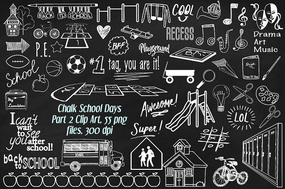 Chalk School Days Pt 2 Clipart By Frankiesdaughtersdesign On Creativemarket Chalkboard Art Chalkboard Art Print Banner Clip Art
