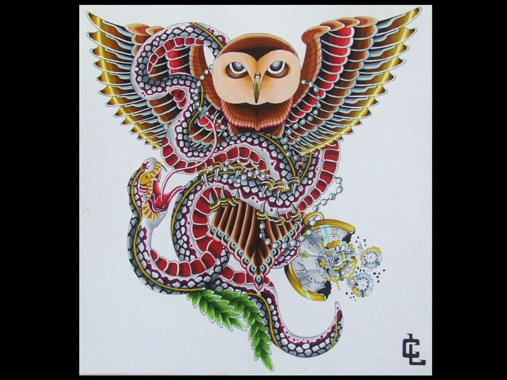 owl and snake chest piece - curtis lawson art