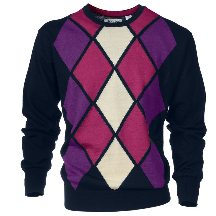 Kartel Mens crew neck sweater with diamond pattern. This light wool sweater is perfect for a day out on the golf course.