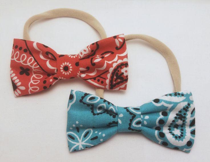 paisley headbands, bandana headbands, girl headband, baby headband, nylon headband, super stretchy headband, red and blue bows, little bows by BowtiqueByNicole on Etsy