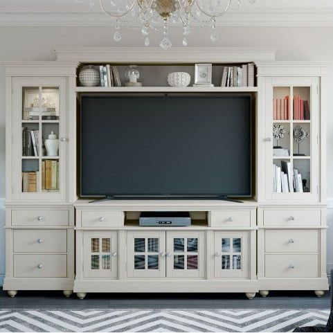 Hampton Antique White Entertainment Center from Renegade Furniture | Coleman Furniture