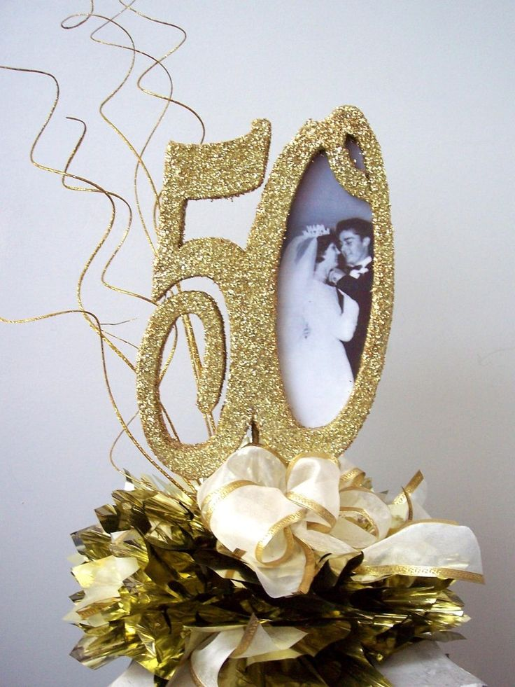 50thcenterpiecewithpicturebow 50th Anniversary Ideas